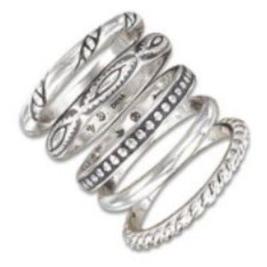 Silpada Set of 5 Rings Sz 5 Etched Sterling Silver